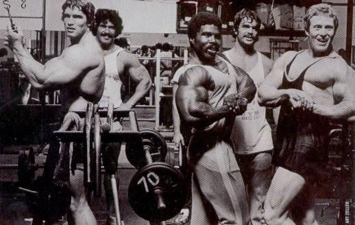 Robby Robinson and Arnold Schwarzenegger in the gym
