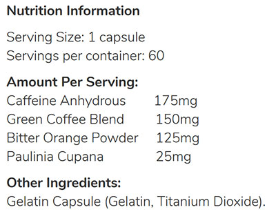 Alpha A5 Fat Burners Ingredients
