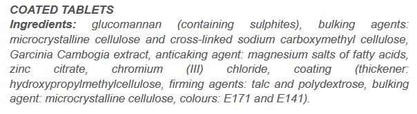 Nutricode Slim Extreme Ingredients