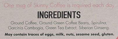 Skinny Coffee Club Ingredients
