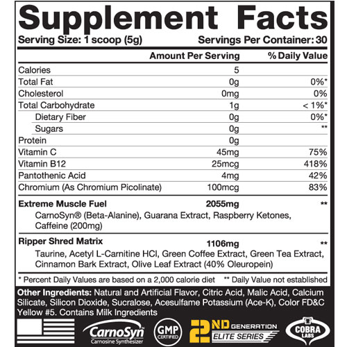 The Ripper Fat Burner Nutrition Facts